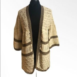 Chico's Open Front Crochet Cardigan Size L